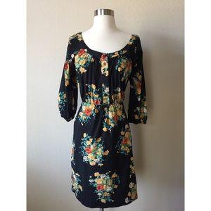 Anthropologie Maeve Black Floral Print Dress